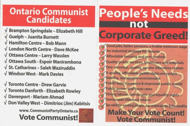 Scan of Communist Party Ontario brochure, listing Communist platform and candidates