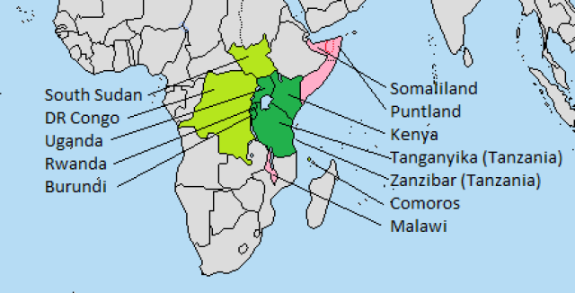 A map of southern Africa with South Sudan, DR Congo, Uganda, Rwanda, Burundi, Somaliland, Puntland, Somalia, Kenya, Tanganyika, Zanzibar, Comoros, and Malawi. Uganda, Rwanda, Burundi, Kenya, Tanganyika, and Zanzibar are in dark green because they are part of the East African Community. South Sudan, DR Congo, and Comoros are in light green because of their Swahili connections. Somalia, Somaliland, Puntland, and Malawi are in pink because their connection is more tenuous.
