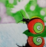 Painting of Snail Holding a Dandelion
