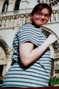 Ania at 13 standing in front of the Notre Dame